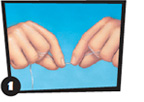 Illustration of hands holding dental floss